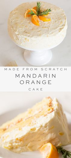 This beautiful made-from-scratch Mandarin Orange Cake is easy to make especially with the help of little hands. Its a fresh twist on an old classic Mandarin Orange Cake made without Cool Whip or cake mix. Just fresh flavorful beautiful cake. Food Cakes, Köstliche Desserts, Delicious Desserts, Tangerine Recipes Desserts, Simple Dessert Recipes, Summer Cake Recipes, Dessert Cake Recipes, Orange Recipes, Savoury Cake