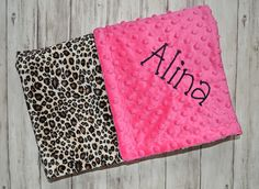 Monogrammed baby blanket minky llama alpaca personalized baby personalized baby blanket minky leopard print and hot pink monogram baby gift cheetah blanket with name newborn negle Choice Image