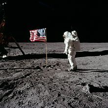 Astronaut Buzz Aldrin salutes the United States flag on the surface of the moon during the Apollo 11 mission. A similar flag was planted on each of the five subsequent successful Moon landing missions