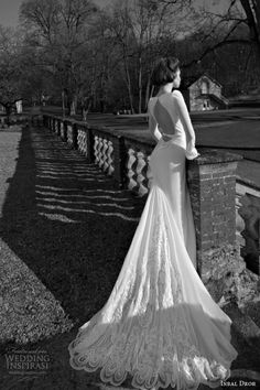 Inbal dror 2013 2014 long sleeve wedding dress open back keyhole scalloped lace