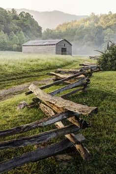 Photographic Print: Pioneers Barn, Split Rail Fence Poster : 24x16in