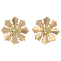 Yellow Gold Art Deco Flower Earrings with Lemon Citrine | From a unique collection of vintage clip-on earrings at http://www.1stdibs.com/jewelry/earrings/clip-on-earrings/