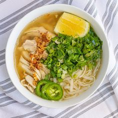 Vietnamese Chicken Noodle Soup (Pho Ga) — Vietnamese Home Cooking Recipes Rice Noodle Soups, Beef And Noodles, Chicken Noodle Soup, Garlic Noodles, Noodle Recipes, Vietnamese Chicken Soup, Vietnamese Pork, Vietnamese Recipes, Vietnamese Cuisine