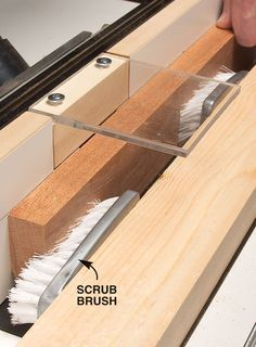 Scrub Brush Featherboards I saw this featherboard idea on a routing tool called the WoodRat. I liked it so much I adapted it to my router table. The WoodRat uses a single wooden scrub brush glued to a board. I wasn't able to find wooden scrub brushes so I bought a pair of plastic ones. I simply screwed them to a mounting board, one for infeed and one for outfeed. …