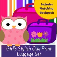 Girls Owl Print Luggage Set