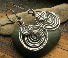 Etruscan Spiral earrings in sterling silver larger by kmaylward, $40.00