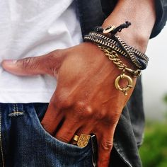 Zipper and brass chain bracelet