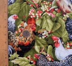 Chickens& Roosters by Hobby Lobby 100% cotton Fabric Sold by the 1/2 Yard #HobbyLobby