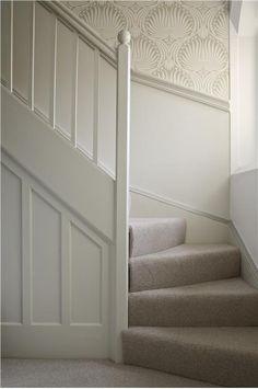 Woodwork = slipper satin , eggshell Wall = wimbourne white estate emulsion Wallpaper = Lotus BP2009