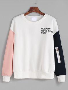 Contrast Drop Shoulder Letter Print Zipper Detail Sweatshirt