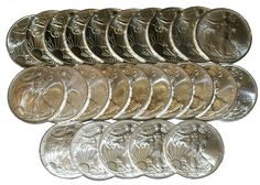 All 27 coins are hand picked Gem Brilliant Uncirculated examples. Own this Silver Eagle set at a great price! Silver Eagles, Silver Dollar, Precious Metals, Gems, Jewelry, Jewlery, Jewerly, Rhinestones, Schmuck