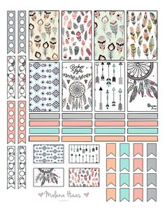 Boho Chic Planner Stickers for Classic Happy Planner - Printable - Instant Download