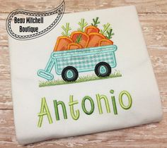 Easter Carrot Wagon with grass applique by BeauMitchellBoutique