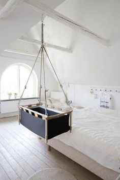 Baby swinging cradle Antracite. Get 10% off on by HangingCradles