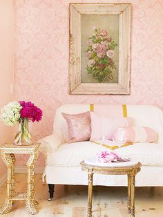 Pink damask wall from Better Homes and Gardens