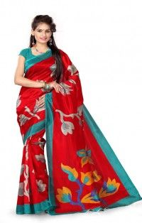 Soft Red Blue Art Silk Saree with Blouse