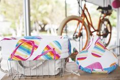 Bicycle Basket Liner Convertible Drawstring Tote Bag with Gorgeous Colorful Flip Flops. 50.00, via Etsy.