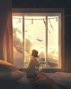 Artist Creates Illustrations That Turn Loneliness Into Magic Art Anime Fille, Anime Art Girl, Japon Illustration, Digital Illustration, Pretty Art, Cute Art, Aesthetic Art, Aesthetic Anime, Anime Scenery