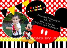 Mickey Mouse birthday invitation Www.facebook.com/custom.designs.by.ana