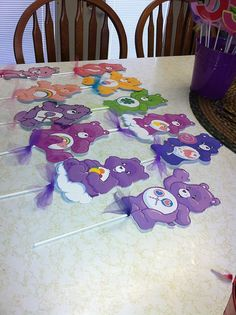 Care bears centerpiece Care Bears banner by PaperBoutiqueByJas Care Bear Birthday, Care Bear Party, Teddy Bear Birthday, 1st Birthday Girls, Birthday Party Snacks, 4th Birthday Parties, Birthday Party Decorations, Party Themes, Birthday Ideas