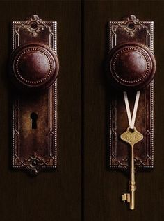 Details of doorknobs, and the key to knowledge within the home office and library