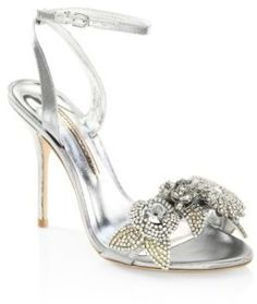 bc4edbd9e445d Sophia Webster Lilico Crystal-Embellished Metallic Ankle-Strap Sandals  Silver Women Ladies High Heels Shoes Fashion New 0400094753964