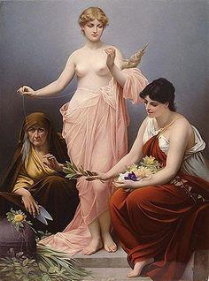 The Three Fates: Destiny's Deities of Ancient Greece and Rome Roman Mythology, Norse Mythology, Greek Mythology, Classical Mythology, Jean Leon, Triple Goddess, Moon Goddess, Classic Paintings, Greek Paintings