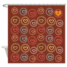 Bright Heart Hoops Monogram Pattern Shower Curtain on CafePress.com