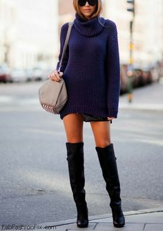 Winter look with knee high boots, tempted to find an outfit like this!!