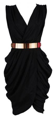 'Monroe' Black Chiffon Wrap Dress