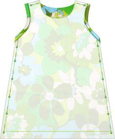 Dit jurkje is een zomerse variant op het A-lijn jurkje . Het jurkje is enkellaags en sluit aan de achterzij...