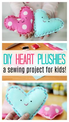 Looking for an easy sewing project for kids? Look no further! These heart plushies come together quickly and are SO CUTE and easy to customize! Projects for kids Beginning Sewing Project For Kids: Make a Heart Plushie! Sewing Hacks, Sewing Tutorials, Sewing Crafts, Sewing Tips, Sewing Ideas, Sewing Patterns Free, Free Sewing, Hand Sewing, Little Dorrit