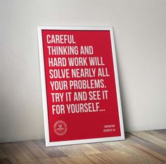 QUOTE BANNER – Quote about Careful Thinking and Hardwork displayed on a wall frame.