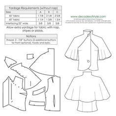 Dress Sewing Patterns, Vintage Sewing Patterns, Clothing Patterns, Capelet Pattern Sewing, Coat Patterns, Blouse Patterns, Blouse Pattern Free, Sewing Paterns, Bodice Pattern