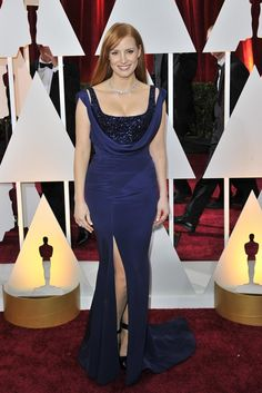 Jessica Chastain in Givenchy Haute Couture and Piaget on the Oscars 2015 Red Carpet. [Photo by Donato Sardella]