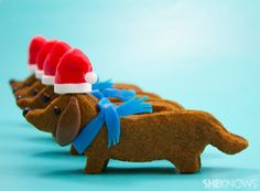 Wiener dog Santa cookies.  Want one right now!