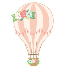 Silhouette Design Store - View Design #208706: hot air balloon - floral