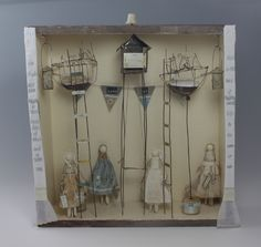 Not quite a little box, more of a drawer still....Jayne Lennard's The Snow Queen. Mixed media 60 x 67 x 15cm  Jayne Lennard - Sculptures inspired by the written word. Jayne transforms discarded objects and captures the intrinsic magic of the fairy tale.
