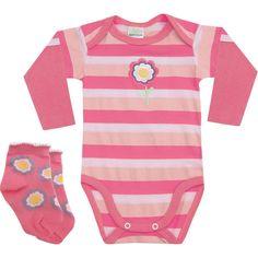 Body Recém Nascido e Bebê Menina Listrado com Meia Rosa - Best Club :: 764 Kids | Roupa bebê e infantil