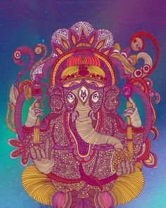 ☯☮ॐ American Hippie Bohemian Psychedelic Art ~ Ganesha Elephant
