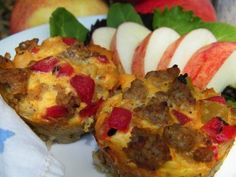 Breakfast - Apple Sausage Quiche (Gluten Free Dairy Free). I think these would be tasty in my lunch box.