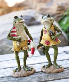 Beach Frog Figurine Set #zulily #zulilyfinds