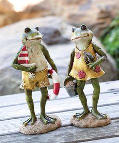 Beach Frog Figurine Set #zulily #zulilyfinds