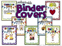 Free Customizable Binder Covers from What the Teacher Wants...NICE!