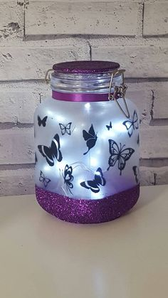 Night light, mood lighting, fairy lights, butterflies in a jar, home lighting, perfect home decor, wedding, bedroom, lamp