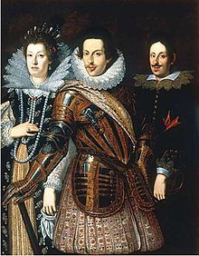 House of Medici ~ (from left to right) The Grand Duchess Maria Maddalena, The Grand Duke Cosimo II (1590-1621), and their eldest son, the future Ferdinando II (1610-1670)