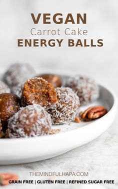 These Vegan Carrot Cake Energy Bites are the perfect healthy snack this Spring. Gluten free, refined sugar-free, and grain free, these bites use less than 10 ingredients and take less than 15 minutes to whip up in your food processor! Vegan Snacks, Easy Snacks, Healthy Snacks, Snack Recipes, Healthy Eats, Vegan Recipes, Vegan Sweets, Easter Recipes, Cake Recipes