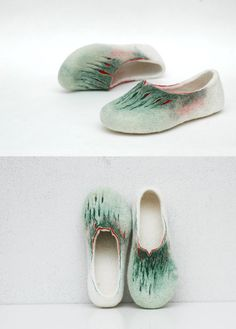 Felted slippers Painting of Spring Green white by JurgaFeltLife