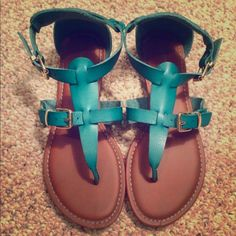 Bamboo Teal Sandals Size 8 NWOT Bamboo sandals in teal have never been worn! They are in new condition and come in a size 8! Bamboo Shoes Sandals