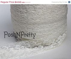 20% OFF 2 Premium Lace Stretch Elastic Trim Floral by PoshNPretty